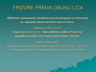 FRIZURE PREMA OBLIKU LICA