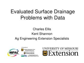 Evaluated Surface Drainage Problems with Data