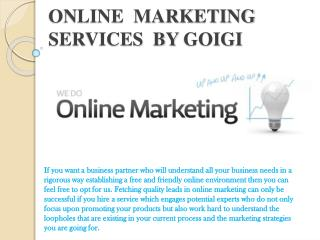 ONLINE  MARKETING services  by goigi