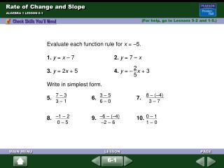 Rate of Change and Slope