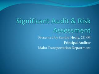 Significant Audit & Risk Assessment