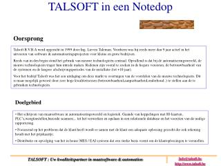 TALSOFT in een Notedop