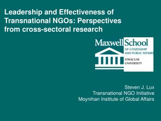Leadership and Effectiveness of Transnational NGOs: Perspectives from cross-sectoral research
