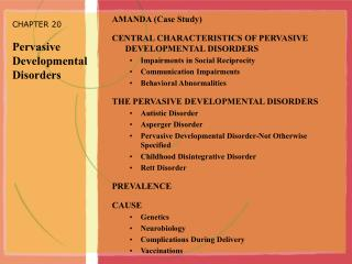 CHAPTER 20 Pervasive Developmental Disorders