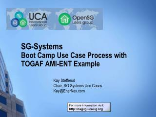 SG-Systems Boot Camp Use Case Process with TOGAF AMI-ENT Example
