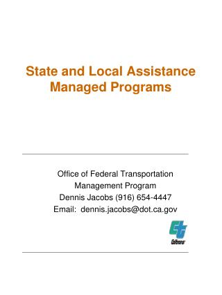 State and Local Assistance  Managed Programs