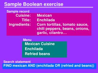 Sample Boolean exercise