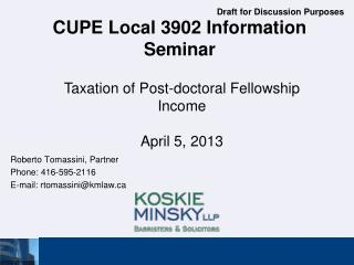 CUPE Local 3902 Information Seminar