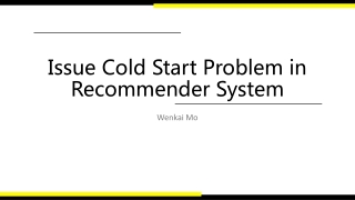 Issue Cold Start Problem in Recommender System