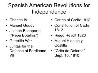 Spanish American Revolutions for Independence