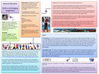 Physical Education GCSE to AS bridging assignment