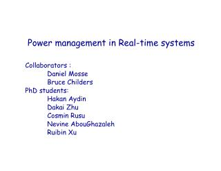 Power management in Real-time systems