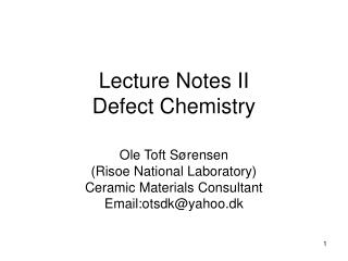 Lecture Notes II Defect Chemistry