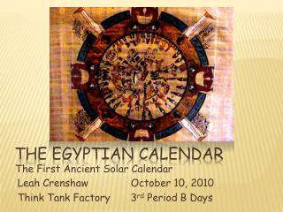 The Egyptian  CAlendar