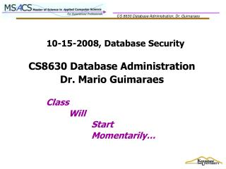 10-15-2008, Database Security