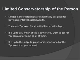 Limited Conservatorship of the Person
