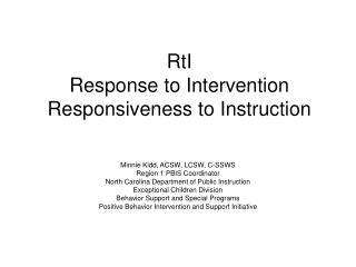 RtI Response to Intervention Responsiveness to Instruction