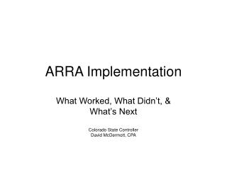 ARRA Implementation