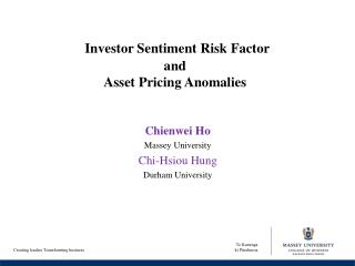 Investor Sentiment Risk Factor  and  Asset Pricing Anomalies