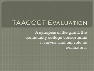 TAACCCT Evaluation