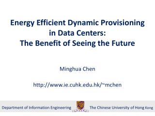 Energy Efficient Dynamic Provisioning in Data Centers :  The  Benefit of  Seeing the  Future