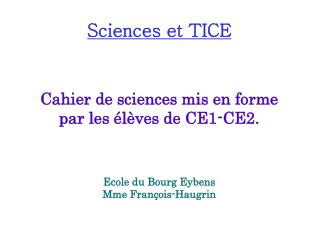 Sciences et TICE