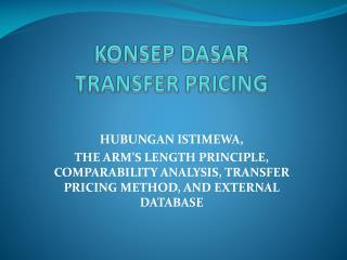 KONSEP DASAR  TRANSFER PRICING