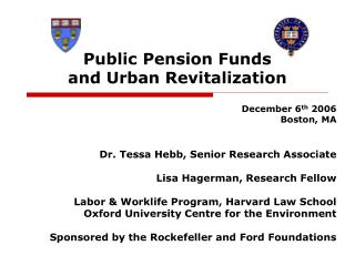 Public Pension Funds  and Urban Revitalization