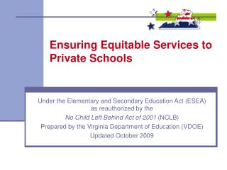 Ensuring Equitable Services to Private Schools