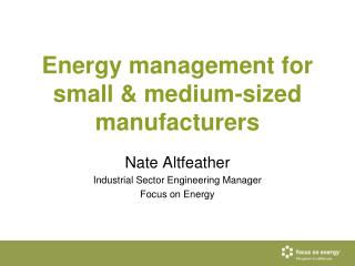 Energy management for small & medium-sized manufacturers