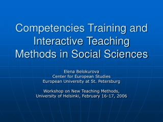 Competencies Training and Interactive Teaching Methods in Social Sciences