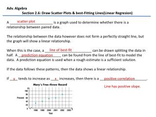 Adv. Algebra Section  2.6 :  Draw Scatter Plots & best-Fitting Lines(Linear  Regresion )