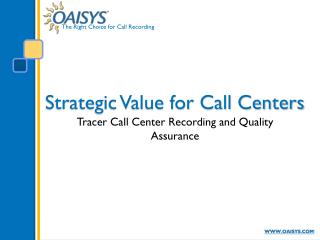 Strategic Value for Call Centers