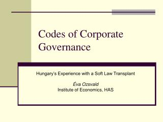 Codes of Corporate Governance