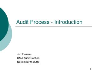 Audit Process - Introduction