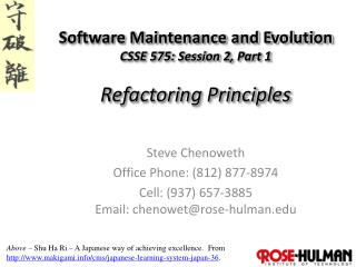 Software Maintenance and Evolution CSSE 575: Session  2,  Part  1 Refactoring  Principles