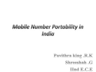 Mobile Number Portability in India