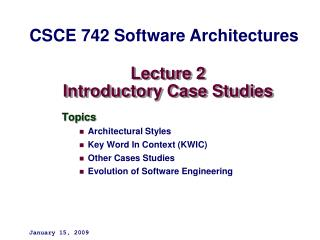 Lecture 2 Introductory Case Studies