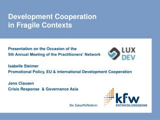 Development Cooperation  in Fragile Contexts