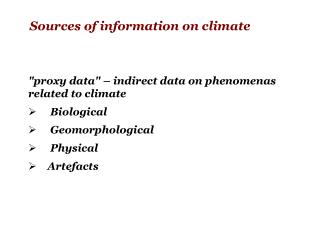 Sources of information on climate
