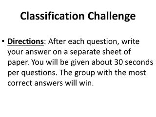 Classification Challenge