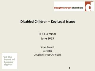 Disabled Children – Key Legal Issues