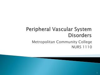 Peripheral Vascular System Disorders