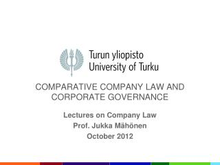 COMPARATIVE COMPANY LAW AND CORPORATE GOVERNANCE