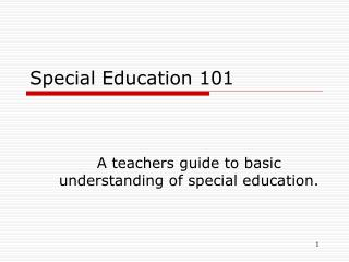 Special Education 101
