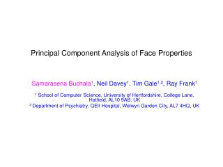 Principal Component Analysis of Face Properties