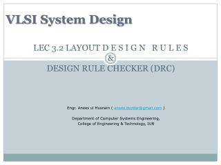 LEC 3.2 LAYOUT D E S I G N   R U L E S & DESIGN RULE CHECKER (DRC)