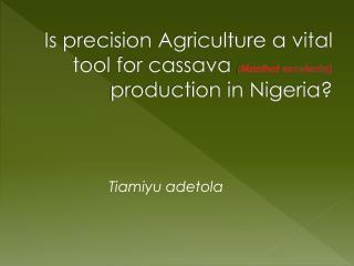 Is precision Agriculture a vital tool for cassava  ( Manihot esculenta )  production in Nigeria?
