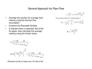 General Approach for Pipe Flow