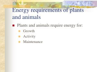 Energy requirements of plants and animals